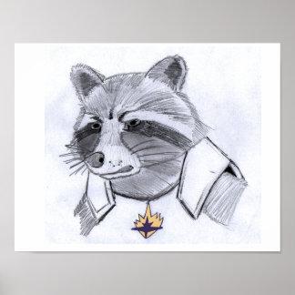 ロケットのアライグマのプリント ポスター