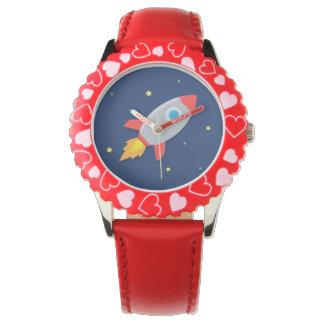 ロケットのカラフルな船、子供へ宇宙 腕時計