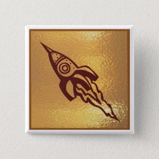 ロケットのジェット機SpaceJet -メダルアイコン金ゴールドの基盤 缶バッジ