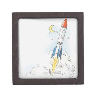 ロケットの出発のイラストレーション ギフトボックス