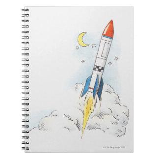 ロケットの出発のイラストレーション ノートブック