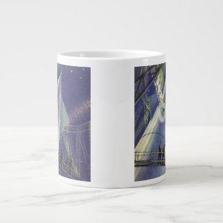 ロケットの船のヴィンテージの空想科学小説の宇宙飛行士 ジャンボコーヒーマグカップ