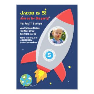 ロケットの船の宇宙のパーティの子供の誕生日の写真 カード