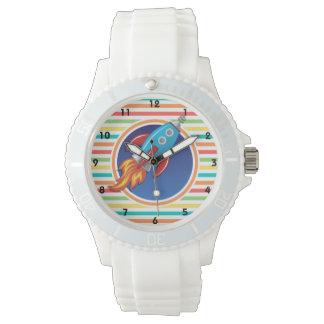 ロケットの船; 明るい虹は縞で飾ります 腕時計