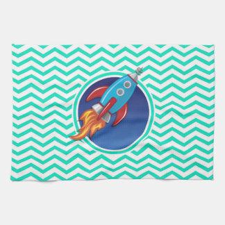 ロケットの船; 水緑のシェブロン キッチンタオル