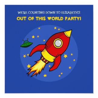 ロケットの赤く黄色い誕生日の招待状 カード