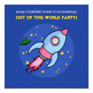 ロケットの青いピンクの誕生日の招待状 カード