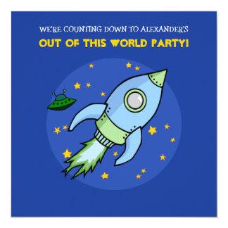 ロケットの青緑の誕生日の招待状 カード