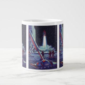 ロケットへのヴィンテージの空想科学小説のエイリアンの波 ジャンボコーヒーマグカップ