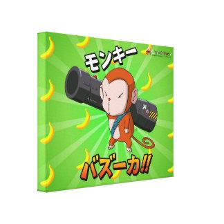 ロケット発射装置およびバナナを持つ日本製アニメ猿 キャンバスプリント