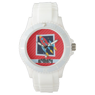 ロケット; 深紅の赤のストライプ 腕時計