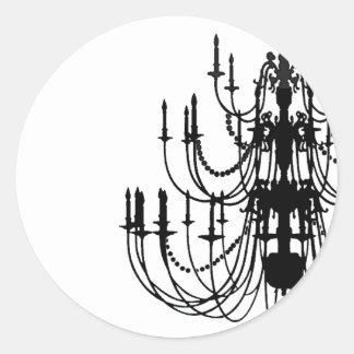 ロココ様式のシャンデリアの(黒い及び白)ステッカー ラウンドシール
