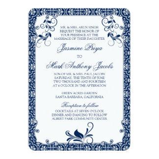 ロココ様式の花の濃紺の白の結婚式招待状 カード