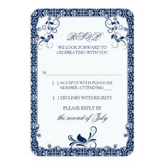ロココ様式の花の濃紺白い結婚RSVPの応答 カード
