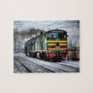 ロコモーティブの蒸気機関の列車のパズル ジグソーパズル