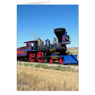 ロコモーティブの蒸気機関の列車の写真 カード