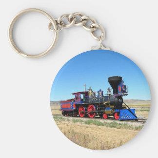 ロコモーティブの蒸気機関の列車の写真 キーホルダー