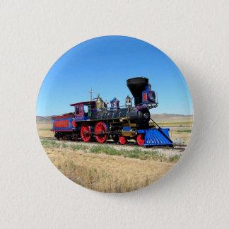 ロコモーティブの蒸気機関の列車の写真 5.7CM 丸型バッジ