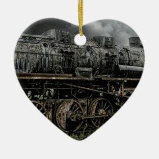 ロコモーティブの蒸気機関の列車の柵の鉄道 セラミックオーナメント