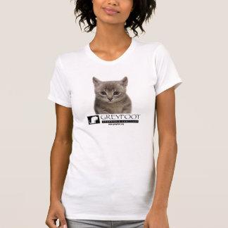 ロゴのワイシャツを持つGreyfoot猫の救助の子ネコ Tシャツ