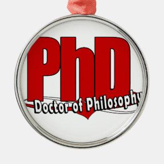 ロゴの大きい赤PhDの博士 メタルオーナメント