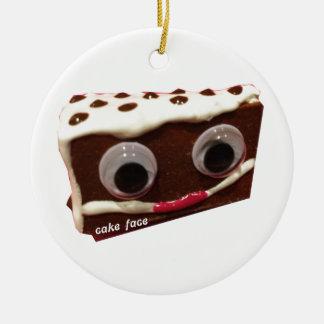 ロゴの破片のケーキの顔 セラミックオーナメント