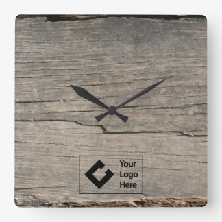 ロゴの素朴な木製の質 スクエア壁時計