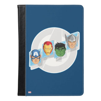 ロゴ上の報復者キャラクターの顔 iPad AIRケース