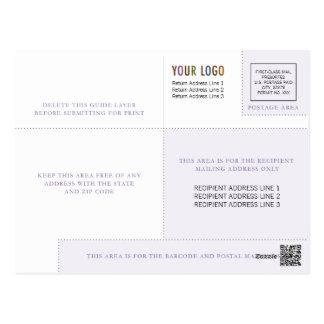 ロゴ及びIndiciaのビジネス郵便はがきのテンプレート ポストカード