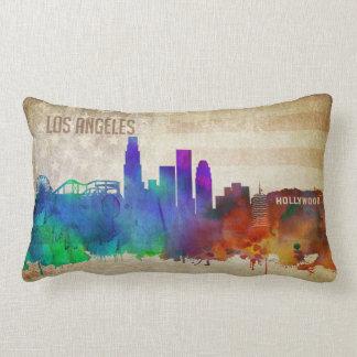 ロサンゼルスのカリフォルニア|の水彩画都市スカイライン ランバークッション