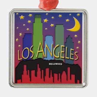ロサンゼルスのスカイラインのnighlife シルバーカラー正方形オーナメント