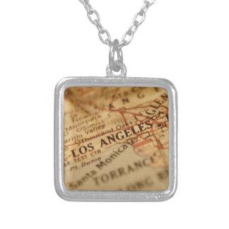 ロサンゼルスのヴィンテージの地図 シルバープレートネックレス
