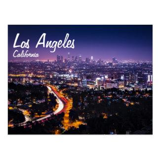 ロサンゼルスの夜のカリフォルニアスカイライン ポストカード