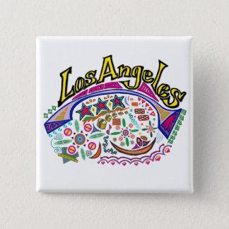 """""""ロサンゼルスよくはしゃぐな""""のボタン! 5.1CM 正方形バッジ"""