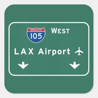 ロサンゼルスLAX空港I-105 W州連帯カリフォルニア- 正方形シールステッカー
