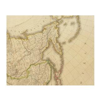 ロシアおよびアジアによって刻まれる地図 ウッドウォールアート