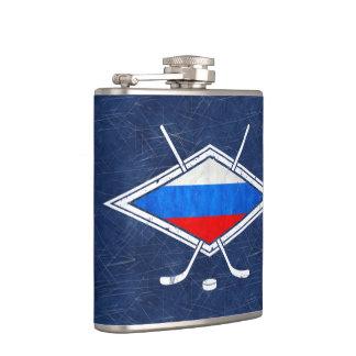 ロシアのなアイスホッケーの旗のロゴのスキットル フラスク