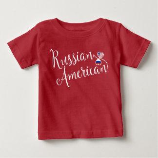 ロシアのなアメリカ人のEntwintedのハートのTシャツ ベビーTシャツ