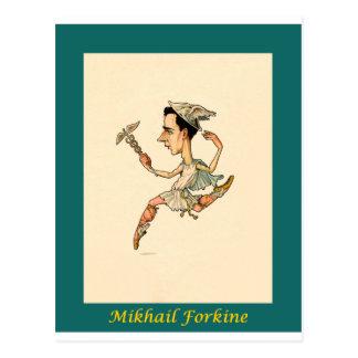 ロシアのなバレエの風刺漫画の~ Mikhail Fokine ポストカード