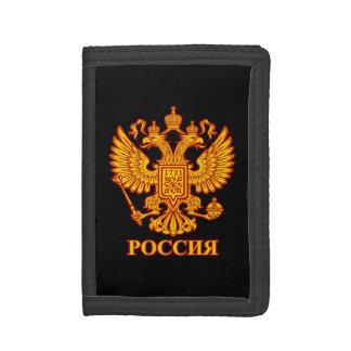 ロシアのな二重先頭に立たれたワシの紋章の財布 ナイロン三つ折りウォレット