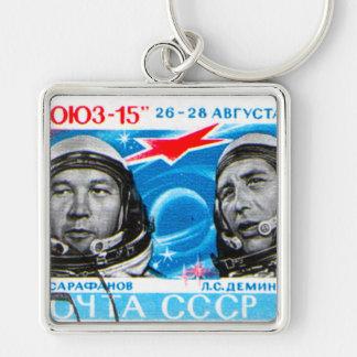 ロシアのな宇宙飛行士(レトロの宇宙時代のデザイン) キーホルダー