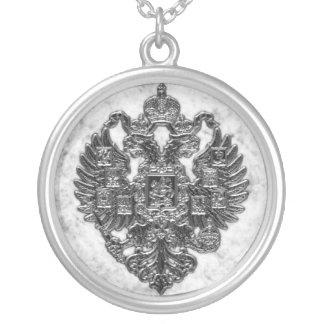 ロシアのな帝国紋章付き外衣 シルバープレートネックレス