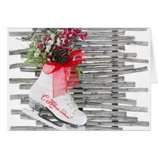 ロシアのな新年はヴィンテージ靴のアイススケートします カード