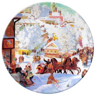 ロシアのなArt.Winter場面クリスマスのギフトのプレート 磁器プレート