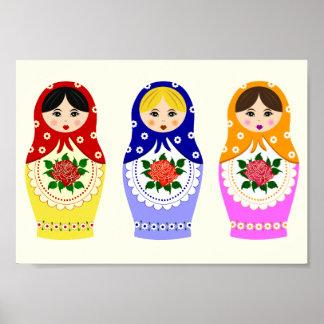 ロシアのなmatryoshkaの人形 ポスター