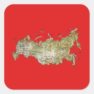 ロシアの地図のステッカー スクエアシール