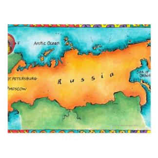 ロシアの地図 ポストカード