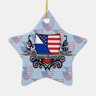 ロシアアメリカの盾の旗 セラミックオーナメント