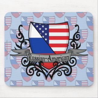 ロシアアメリカの盾の旗 マウスパッド