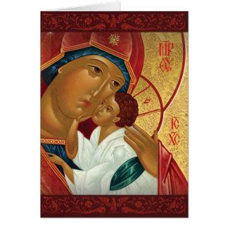ロシア正教のクリスマスカード-金ライト カード